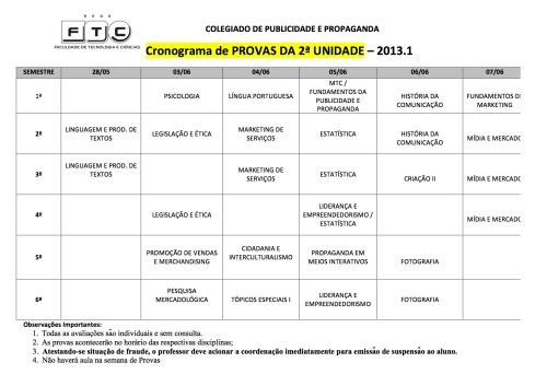Calendário PROVAS 2013.1 cópia